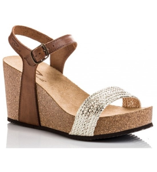 Sandale compensée Qarmen metal